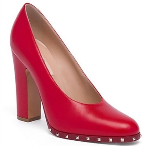 Valentino Shoes - Valentino Red Leather Soul Rockstud Block Heel